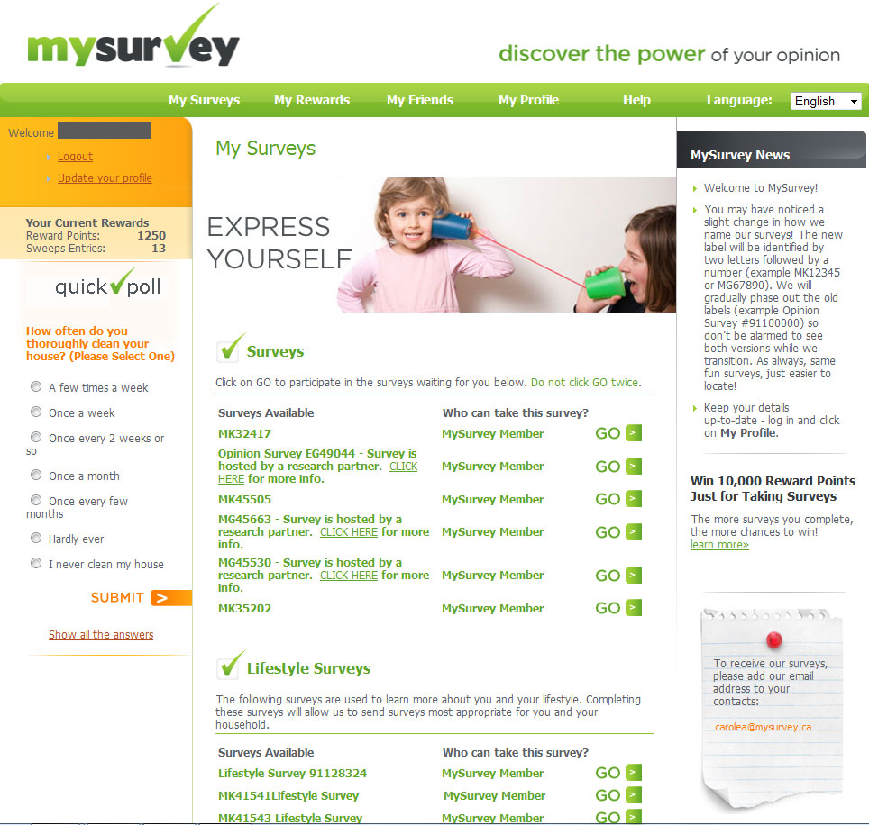 MySurvey surveys